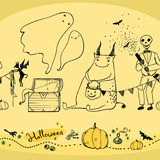 Seamless halloween pattern with ghosts  pumpkins and skeleton. Seamless halloween pattern with ghosts, pumpkins, skeleton and magical attributes Stock Photography