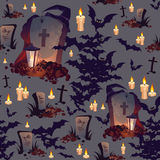 Seamless Halloween Pattern with Graves, Bats, Candles and Lanterns on dark background. Images for your design projects Stock Photography