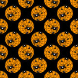 Seamless halloween pattern with hole of spiders Stock Photo