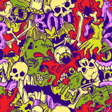 Seamless halloween pattern with horror elements Royalty Free Stock Image