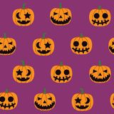 Seamless halloween pattern illustration, decorative pumpkin. Seamless halloween pattern illustration, decorative monster pumpkin on purple background vector royalty free illustration