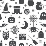Seamless Halloween pattern. Seamless Halloween monochrome black and white pattern with festive Halloween icons. Design for wrapping paper, paper packaging Royalty Free Stock Image