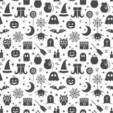 Seamless Halloween pattern. Seamless Halloween monochrome black and white pattern with festive Halloween icons. Design for wrapping paper, paper packaging Stock Photo