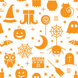 Seamless Halloween pattern. Seamless Halloween monochrome orange and white pattern with festive Halloween icons. Design for wrapping paper, paper packaging Stock Image