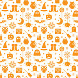 Seamless Halloween pattern. Seamless Halloween monochrome orange and white pattern with festive Halloween icons. Design for wrapping paper, paper packaging Royalty Free Stock Photos