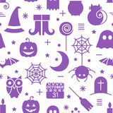 Seamless Halloween pattern. Seamless Halloween monochrome violet and white pattern with festive Halloween icons. Design for wrapping paper, paper packaging Stock Photography