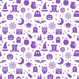 Seamless Halloween pattern. Seamless Halloween monochrome violet and white pattern with festive Halloween icons. Design for wrapping paper, paper packaging Stock Photo