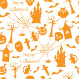 Seamless Halloween. Seamless pattern with orange symbols of Halloween on a white background Royalty Free Stock Image