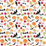 Seamless Halloween pattern with pumkins Stock Image