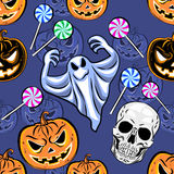 Seamless Halloween pattern with a pumpkin. Halloween Party desig Royalty Free Stock Photos