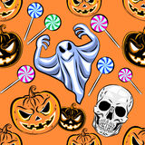 Seamless Halloween pattern with a pumpkin. Halloween Party desig Royalty Free Stock Images