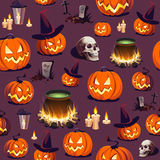 Seamless Halloween Pattern with Pumpkin, Skull and Lantern on dark background. Image for your design projects Stock Photography