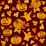 Seamless halloween pattern with pumpkins and ghosts Royalty Free Stock Photo