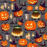 Seamless Halloween Pattern with Pumpkins and Lanterns on dark background. Images for your design projects Royalty Free Stock Photo