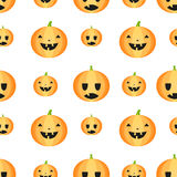 Seamless Halloween pattern with pumpkins Stock Photo