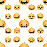 Seamless Halloween pattern with pumpkins Stock Images