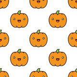 Seamless halloween pattern with pumpkins on white background. Seamless halloween pattern background with pumpkins on white background. Vector illustration Royalty Free Stock Images