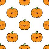 Seamless halloween pattern with pumpkins on white background. Seamless halloween pattern background with pumpkins on white background. Vector illustration Stock Image