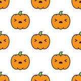 Seamless halloween pattern with scared kawaii style pumpkins on white background. Seamless halloween pattern background with scared kawaii style pumpkins on Royalty Free Stock Image