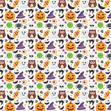 Seamless Halloween Pattern. Set icon, vector halloween on white background. texture for wallpaper, wrapping paper and etc Royalty Free Stock Images