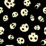 Seamless halloween pattern with skulls. Vector illustration,  on black background. Royalty Free Stock Photography