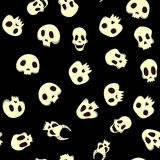 Seamless halloween pattern with skulls. Vector illustration, isolated on black background. Royalty Free Stock Photo