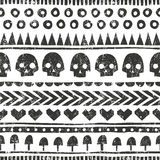 Seamless halloween pattern in tribal style. Vector background with grunge texture. Seamless halloween pattern in tribal style. Monochrome background with grunge vector illustration