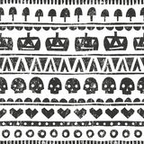 Seamless halloween pattern in tribal style. Vector background with pumpkins, skulls, mushrooms and hearts. Seamless halloween pattern in tribal style royalty free illustration