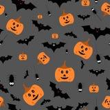 Seamless halloween pattern vector illustration on gray background Royalty Free Stock Photo