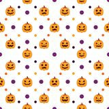 Seamless Halloween Pattern white background. Seamless Halloween Pattern with orange pumpkins on white background Royalty Free Stock Photo