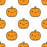 Seamless halloween pattern with winking kawaii style pumpkins on white background. Seamless halloween pattern background with winking kawaii style pumpkins on Stock Images