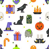 Seamless halloween pattern witch magic candies gifts icons set  flat design line art vector illustration Stock Image