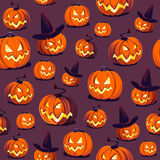 Seamless Halloween Pattern With Pumpkins On Dark Background. Royalty Free Stock Images