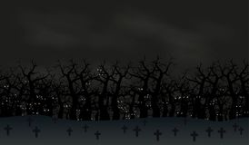 Free Seamless Halloween Poster Background. Foggy Landscape Of Graveyard With Scary Bats Eyes In Dark For Stock Photos - 117924293
