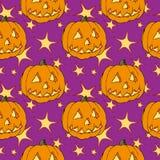 seamless halloween pumpa stock illustrationer