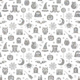 Seamless Halloween silver textured pattern. With festive Halloween icons. Bright design for wrapping paper, paper packaging, textiles, holiday party invitations Stock Photo