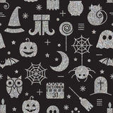 Seamless Halloween silver textured pattern. With festive Halloween icons. Bright design for wrapping paper, paper packaging, textiles, holiday party invitations Stock Image