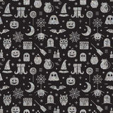 Seamless Halloween silver textured pattern. With festive Halloween icons. Bright design for wrapping paper, paper packaging, textiles, holiday party invitations Royalty Free Stock Photo