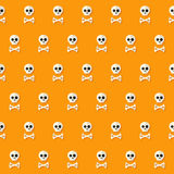 Seamless Halloween Skull Pattern with Bones Stock Photo