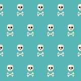 Seamless Halloween Skull Pattern with Bones over blue Royalty Free Stock Image