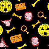 seamless halloween symboler Royaltyfria Bilder