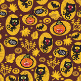 Seamless Halloween texture with black cat. Royalty Free Stock Photography