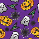 Seamless Halloween Tile Background. Seamless and fully repeatable halloween themed background, with pumpkins, ghosts, spiders webs and witches hats stock illustration