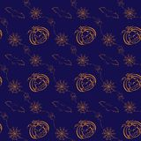 Seamless Halloween vector background with. Seamless Halloween pattern with pumpkins, Jack O'Lanterns, bats and spiders in modern line art style. Holiday themed Royalty Free Stock Photography