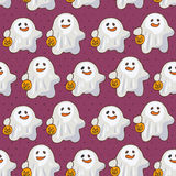 Seamless halloween vector pattern with cute ghosts with pumpkins Stock Photography