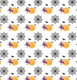 Seamless halloween witch and spiderweb pattern Royalty Free Stock Images