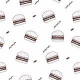 Seamless patter of hamburger silhouette royalty free stock photo