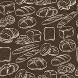 Seamless hand draw bread pattern. Stock Photos