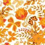 Seamless hand draw butterfly with floral pattern on white background Royalty Free Stock Photos