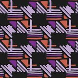 Seamless hand draw Folk pattern. weave lines ornament. Seamless hand draw Folk pattern on black background. Weave lines ornament. Backdrop for textile or book stock illustration